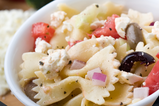 Vegetable Bowtie Pasta Salad  forLuau Themed Party Catering